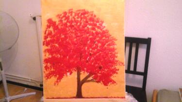 Un arbre rouge à l acrylique