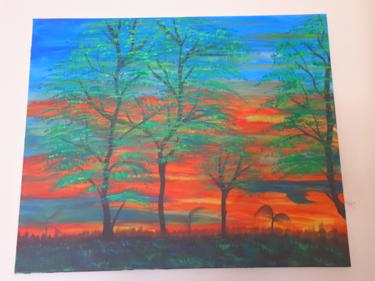 Tableau d arbres dans une nature en couleurs