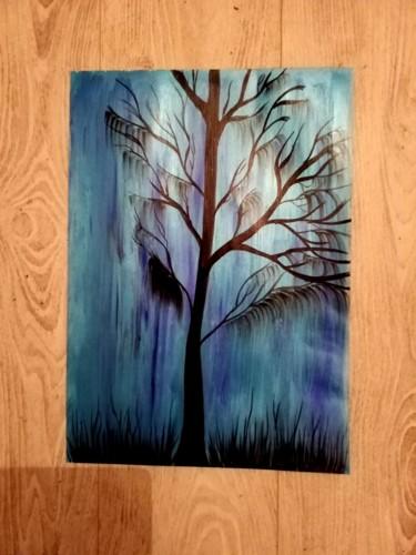 Un arbre en peinture sur papier A3